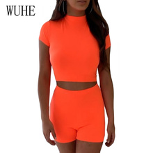 WUHE Rompers Womens New Fashion Two Piece Sets Top and Short Jumpsuit Summer Sleeve O Neck Club Wear Neon Green Bodysuit