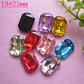 Jewelry Materials For Diy Decoration 50pcs Mixed 18*25mm Colors Without Flat Back Cute Acrylic Rectangle Rhinestone Gems