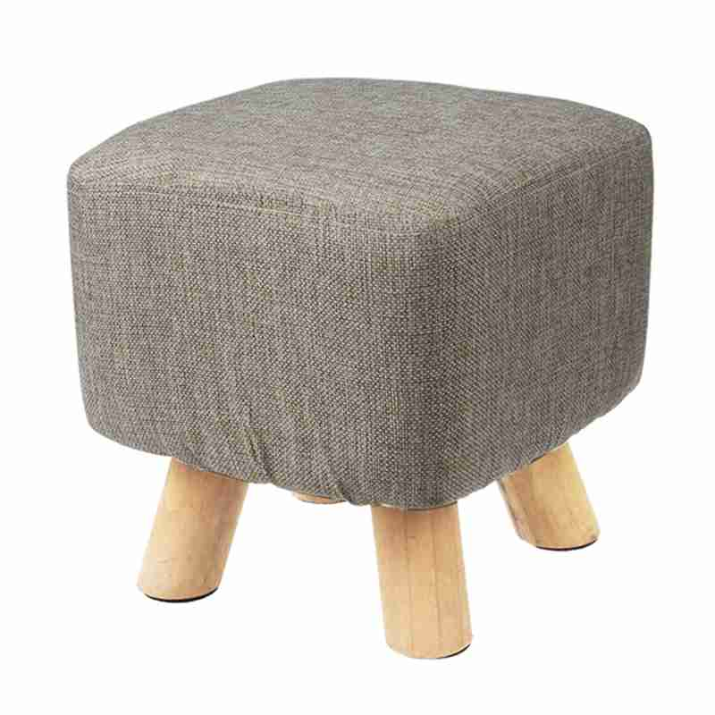 Modern Luxury Upholstered Footstool Pouffe Stool + Wooden Leg Pattern:Square Fabric:Grey(4 Legs)