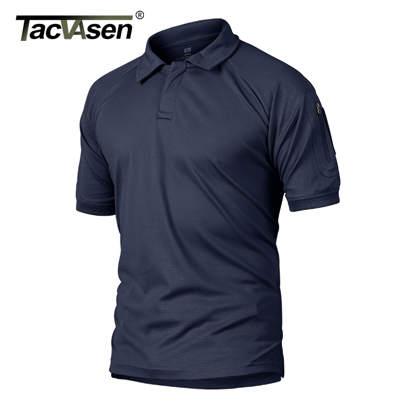 TACVASEN Summer T-shirts Golf Polos Men's Tactical Clothing Quick Dry Mesh Fabric Army Performance Airsoft Tee Shirts Tops Male 1