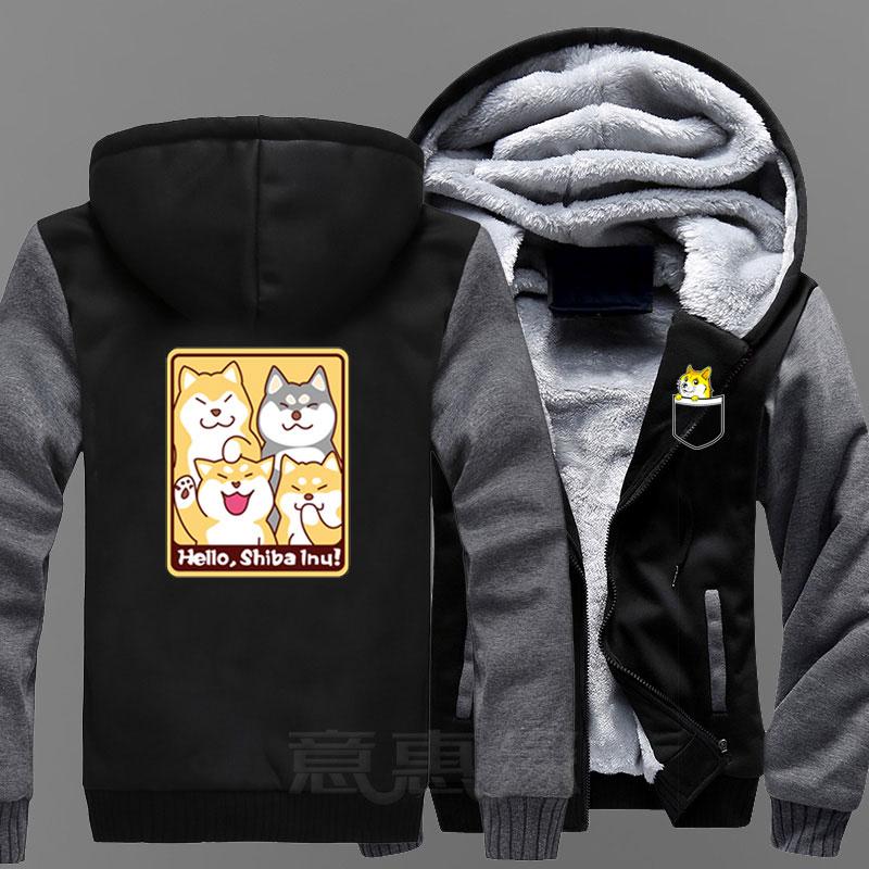 New Doge Hoodie Anime Kabosu Shiba Inu Coat Jacket Winter Men Thick Zipper Sweatshirt in Hoodies amp Sweatshirts from Men 39 s Clothing