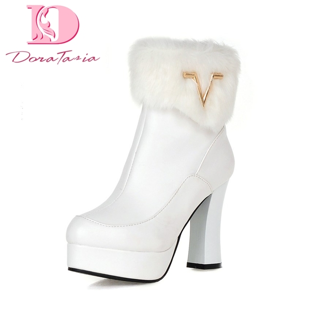 56881d15 DoraTasia 2018 talla grande 33-43 Invierno Caliente piel plataforma mujeres  botas Zapatos mujer sexy