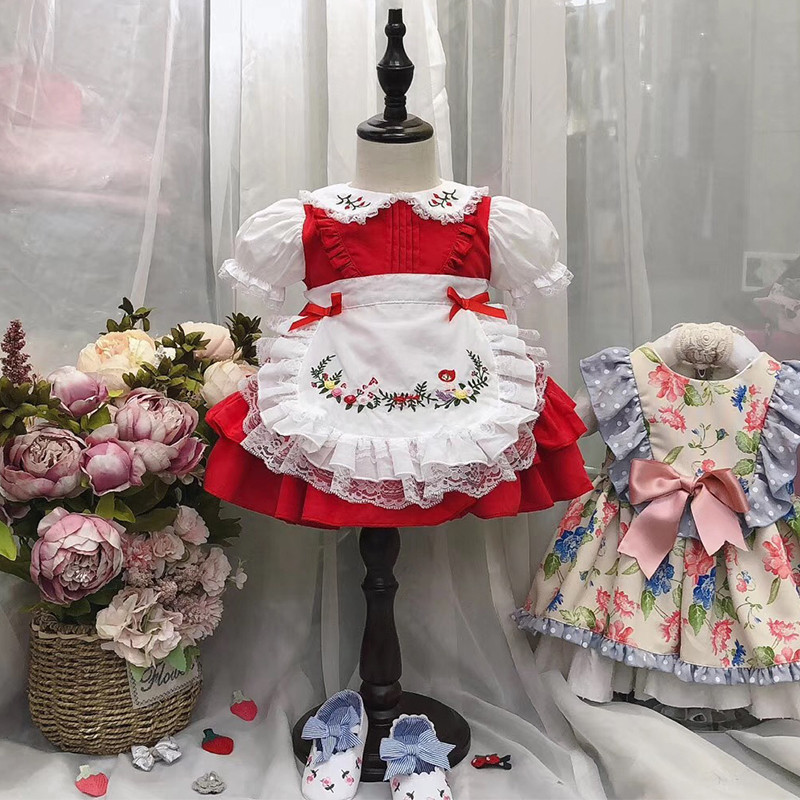1 6Y BaBy Girls Red Vintage Spanish Pompom Gown Dress Lace Lolita Dress Princess Dress for