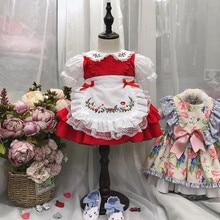 1 6Y طفل الفتيات الأحمر خمر الإسبانية Pompom ثوب فستان الدانتيل لوليتا فستان الأميرة فستان للفتيات عيد الميلاد فستان حفلة عيد ميلاد