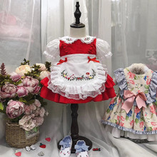 1 6Y เด็กทารกสีแดง VINTAGE สเปน PomPom ชุดลูกไม้ Lolita ชุดเจ้าหญิงชุดสำหรับสาวคริสต์มาสชุดวันเกิด