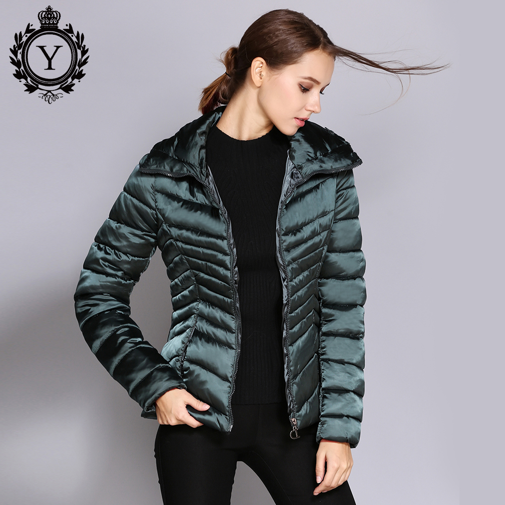 COUTUDI 2018 Winter Women Parka and Coat Slim Warm Female Jackets Short Green High Quality Cotton