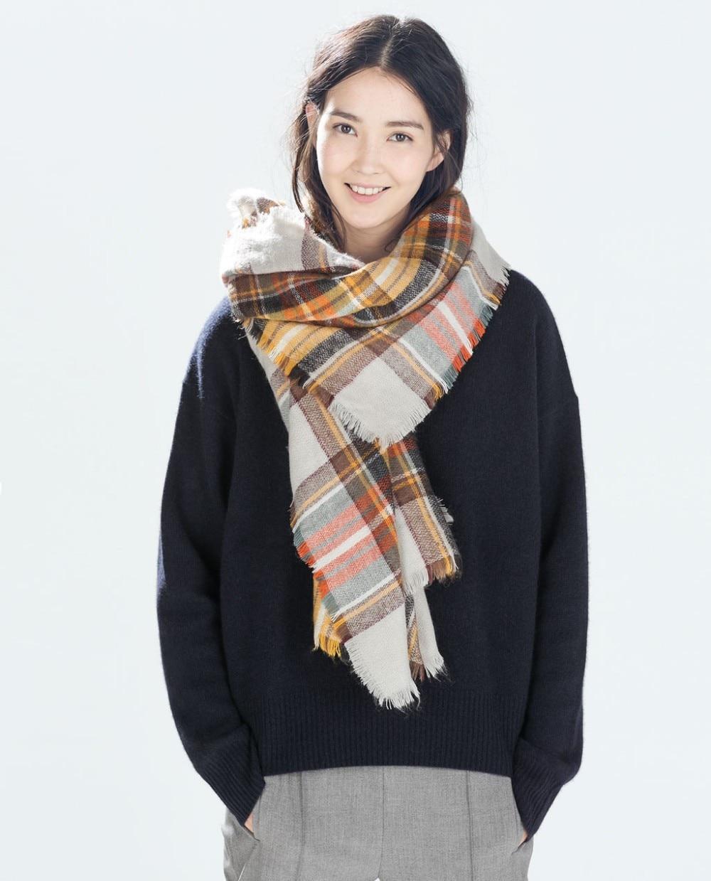Clearance sales 2015 Winter Women Scarves Large font b Tartan b font Scarf Pashmina Warp Shaw