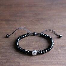Wholesale Black Stone White Copper Six True Words Sign Charm Mala Beads Bracelet Unisex Tibetan Buddhist Handmade Chrismas Gift