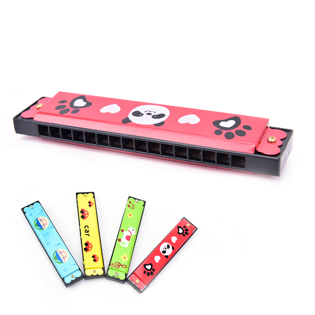 Stainless Steel Music Teaching Tools  Wooden 16-hole Harmonica Kids Children Musical Instrument Educational Toy Random Pattern