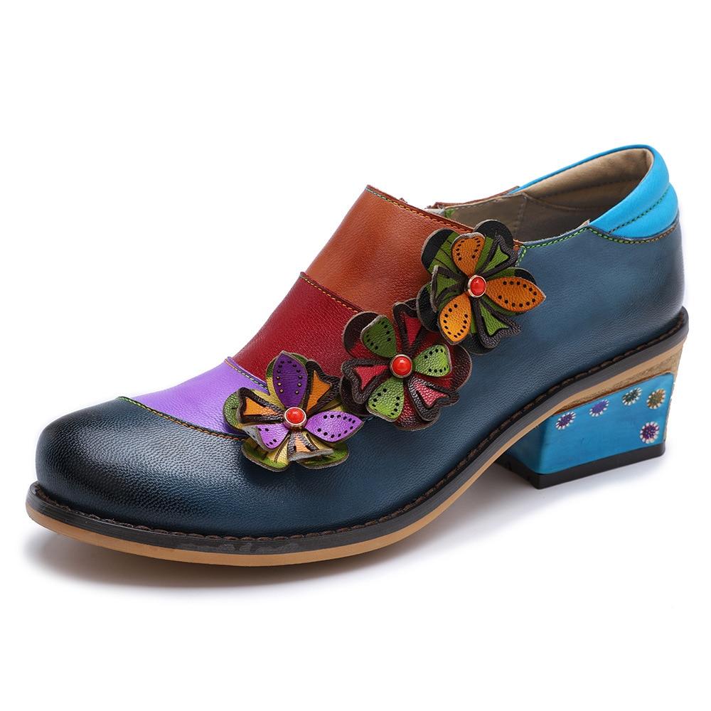 Johnature 2019 nowa wiosna Retro mieszane kolory prawdziwej skóry okrągłe Toe aplikacje Handmade damskie buty na co dzień pompy Med obcasy w Buty damskie na słupku od Buty na  Grupa 1