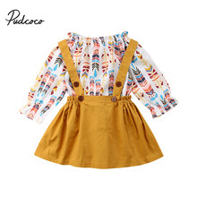 8cf4ff8d94c0 Pudcoco Toddler Kids Baby Girls Feather Clothes Long Sleeve T-shirt  Top+Overall Skirt Dress Set Children Autumn Winter Clothing