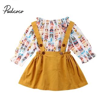 Pudcoco enfant en bas âge enfants bébé filles plume vêtements à manches longues T-shirt Top + jupe globale robe ensemble enfants automne hiver vêtements