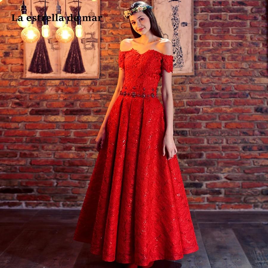 La estrella de mar wedding guest   dress   2019 new lace crystal Boat Neck short sleeve a Line red   bridesmaid     dress   long plus size