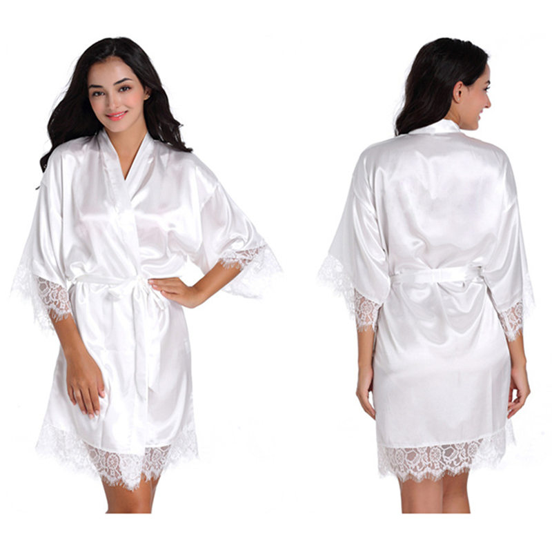d96fadc7d3 Women s Bridal White Short Lace Up Kimono Robe Satin Silk Bridesmaid  Rhinestone Wedding Robes Sleepwear Dressing Gown-in Robes from Underwear    Sleepwears ...