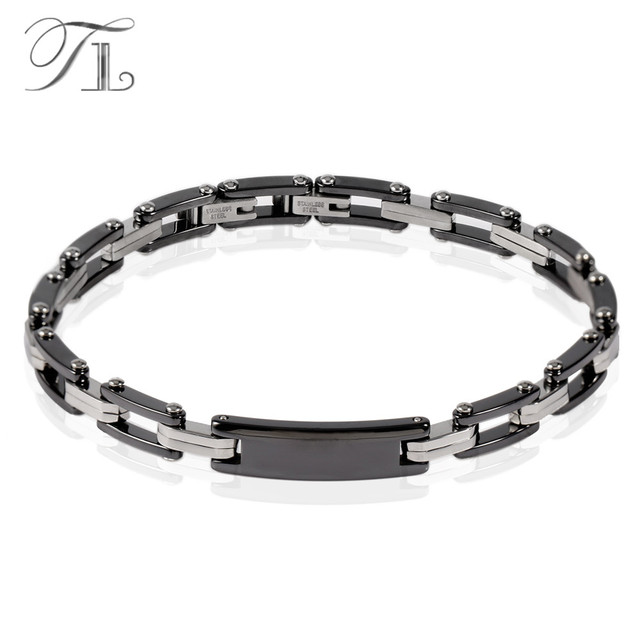 Tl New Stainless Steel Silver Hologram Bangles Bracelets Luxury Black Ceramic Men Hot