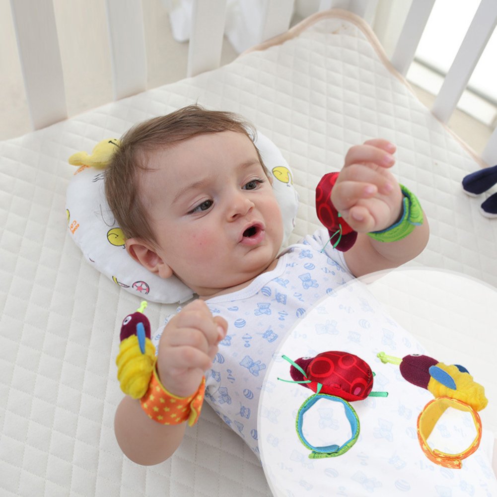 2pcs Soft Animal Socks Wrist Bell Bands Sound Hand Foot Bell Pet Socks Attention Baby Kids Intellectual Development Toys