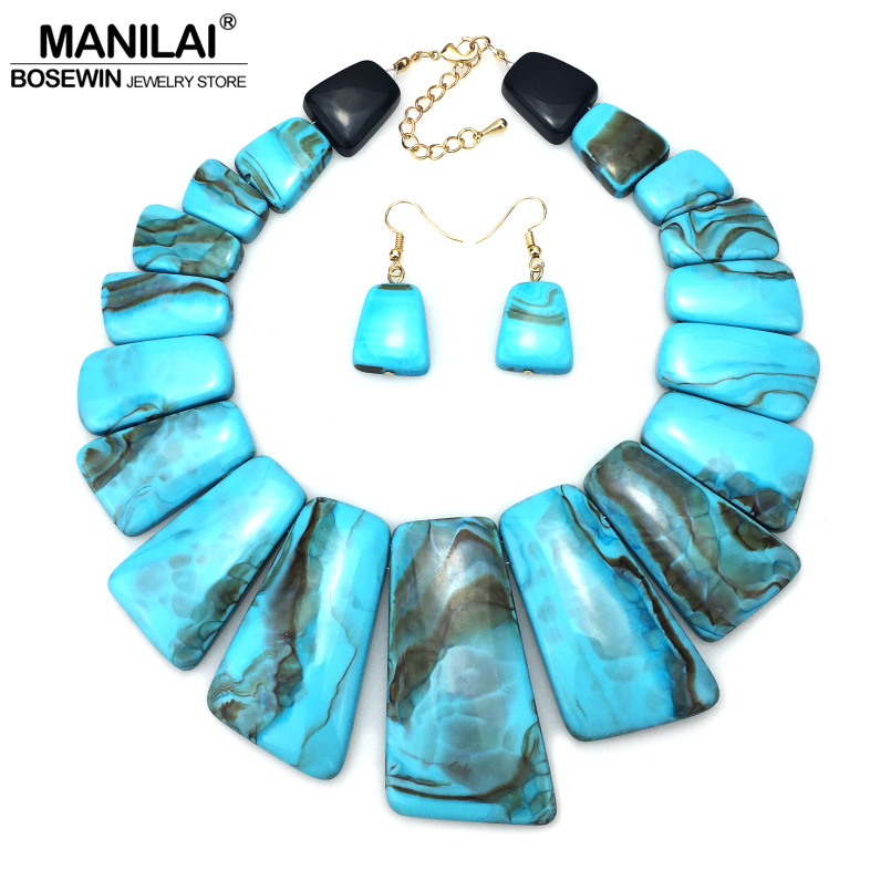 MANILAI Big Colouration Resin Indian Jewelry Sets Women Ethnic Design Statement Choker Necklace Earrings Sets Vintage manilai trendy arc hollow metal big torque choker necklaces women indian geometric collar statement necklace jewelry wholesale