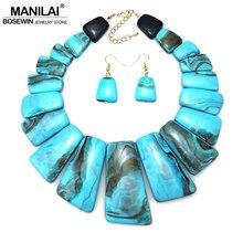 33c7034c7775 MANILAI gran coloración resina indio conjuntos de joyería de las mujeres  diseño étnico declaración gargantilla