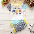 2016Children Unisex Fashion Sets Cartoon 2Pieces (High Quality T-Shirt+Short Pants) Cotton Casual Cute Toddler Sport Kids Suits