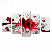 5 pcs set diy diamond painting cross stitch Red Love Heart Butterfly,DIY Diamond Embroidery mosaic Wall stickers home decoration