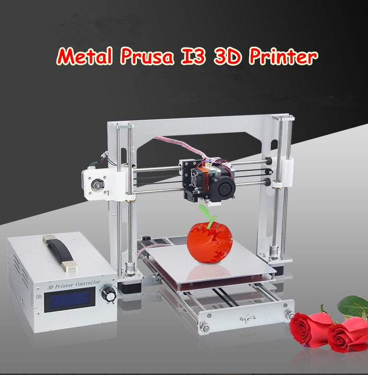 DHL Free  Portable Metal Prusa I3 3D Printer Kit Line/Off-line Printing Self-assembly DIY Aluminum 3D Printer With LCD Screen flsun 3d printer big pulley kossel 3d printer with one roll filament sd card fast shipping