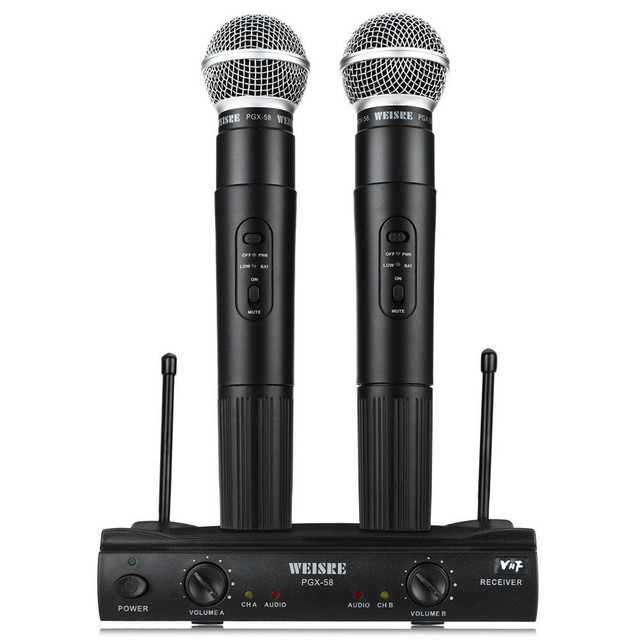 PGX58 Omni-directional Wireless Microphone System Dual Wired Mic Handheld Microphone Cordless Receiver for Karaoke Party KTV