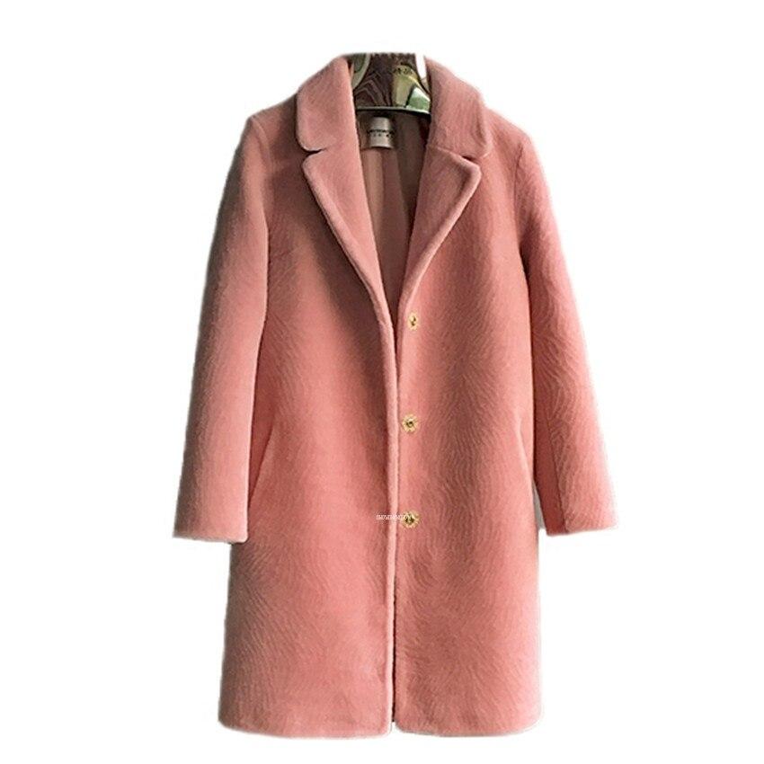 New Genuine Réel Moutons Laine Cisaillement Manteau de Femmes De Mode Grand Hiver De Fourrure Manteau Long Costume Col Grande Taille Plus