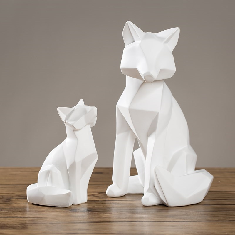 Figurines Office Solid-Geometry Fox-Craft Desktop Home-Furnishing-Decor Coffee Resin