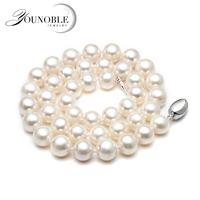 Real Freshwater pearl necklace for women,white bridal natural round choker big pearl necklaces wife anniversary