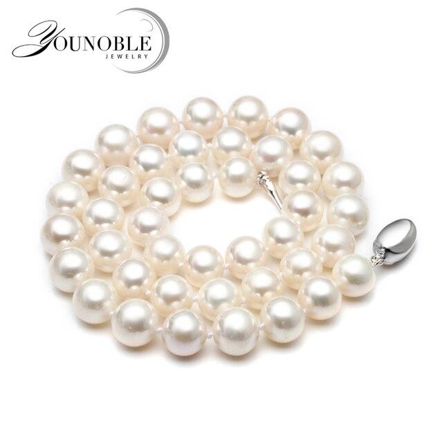 Collar de perlas de agua dulce Real para mujer, Blanco nupcial natural redondo gargantilla collares de perlas grandes esposa aniversario