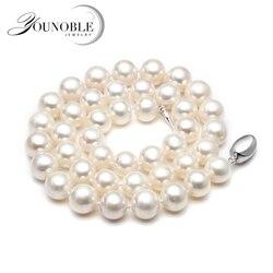 Collar de perlas de agua dulce reales para mujer, Gargantilla redonda natural nupcial blanca, collares de perlas grandes para Aniversario de esposa