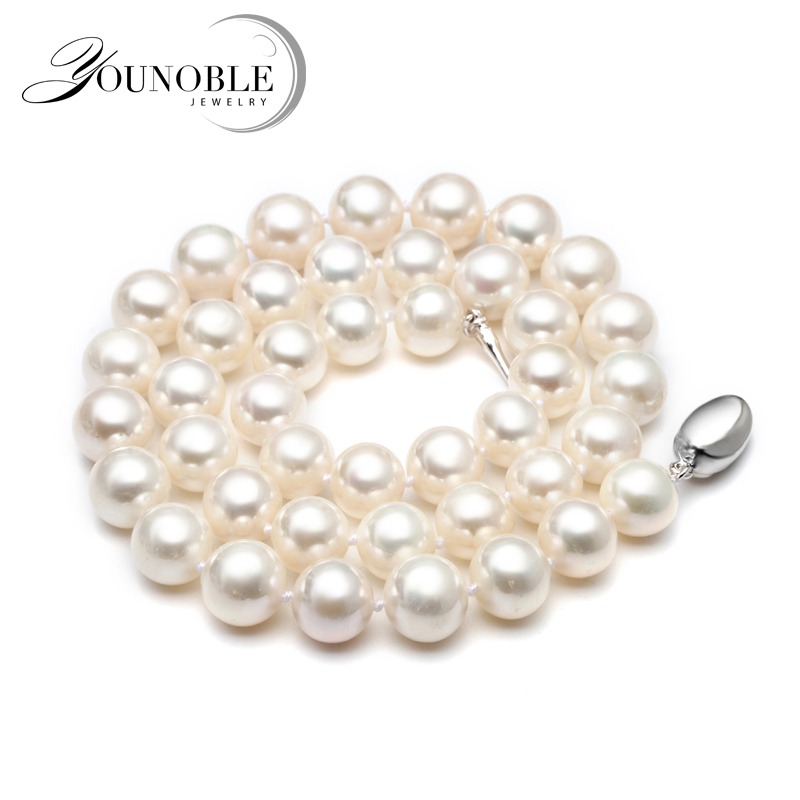 Real Freshwater pearl necklace for women,white bridal natural round choker big pearl necklaces wife anniversary цена