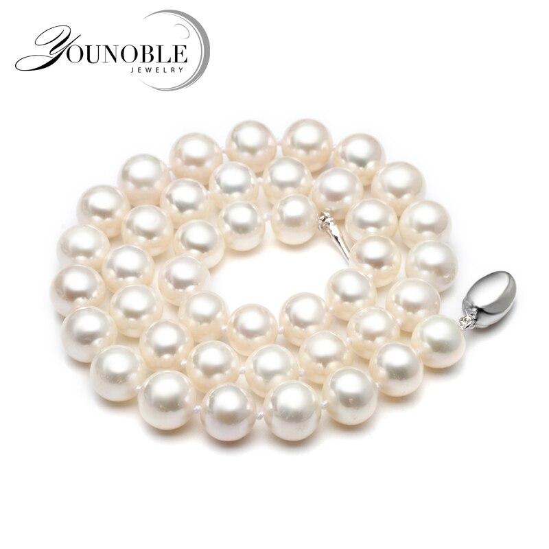 Véritable collier de perles d'eau douce pour les femmes, blanc nuptiale naturel tour de cou grand perle colliers femme anniversaire