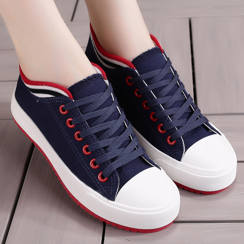 Women Canvas Shoes Summer/Autumn Flats Women Casual Shoes Classic Lace Up Student Women Sneakers 6h74 2017 patchwork lace up rubber sole canvas shoes breathable super leisure women casual shoes with flats student shoes rm 05