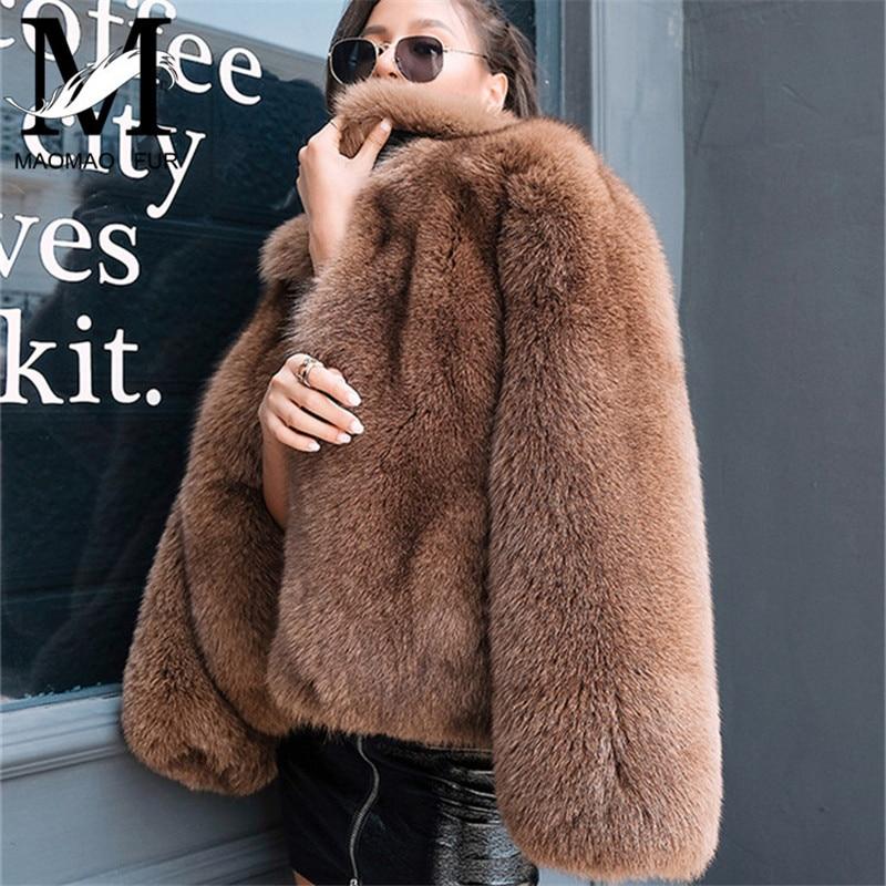 Женский натуральный Лисий мех пальто Роскошная вся кожа Лисий мех пальто Зимняя теплая верхняя одежда модный стиль натуральный мех куртка
