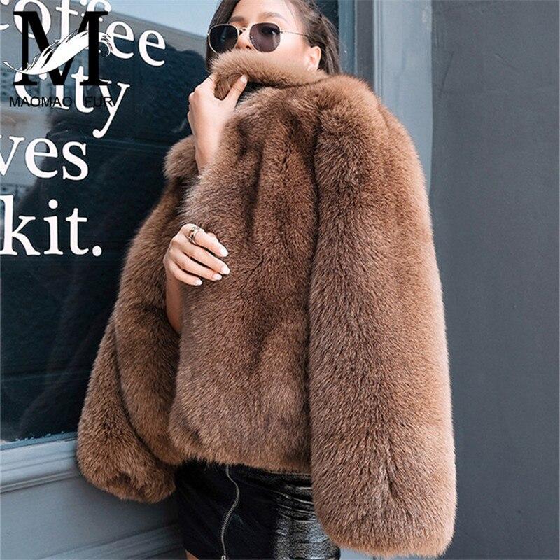 Femmes Véritable Naturel Fox Manteaux De Fourrure De Luxe Peau Tout Fox Manteaux De Fourrure D'hiver Chaud Outwear De Mode Style Réel Veste De Fourrure