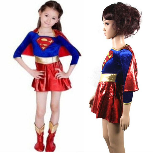 2017 fashion child supergirl Sexy girl super hero costume cosplay party for super girl costume child girl cosplay costume