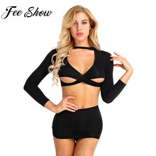 3Pcs Women Secretary Uniform Cosplay Costume Sexy Blouse Set Sheer Long Sleeve See-through Crop Top With Mini Skirt and G-string(China)