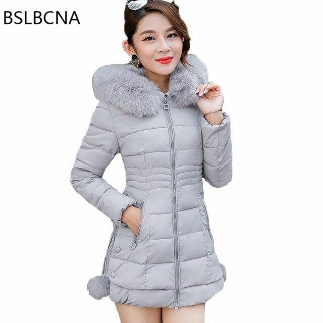 Plus Size Clothes Korean Fashion Overcoat Mid Length Parka Feminina Big Hair Collar Down Cotton Female Winter Jacket Women A450