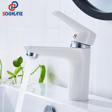 Basin Faucet For Bathroom Sink Faucet Cold And Hot Water Tap White Mixer Faucet Single Handle Hole Mixer Sink Tap Bath Faucet fashion high quality wall mounted single cold spring sink faucet basin faucet tap mixer