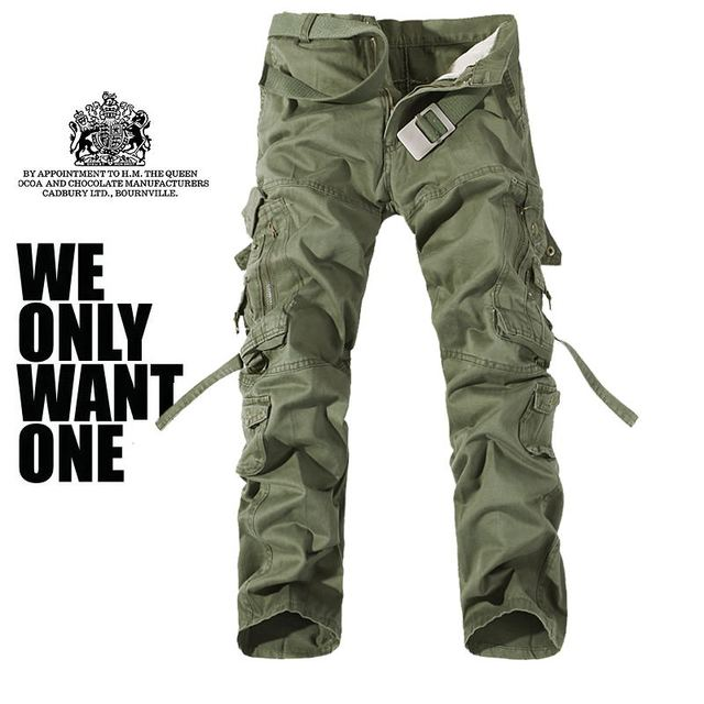 Military Army Camouflage Cargo Pants Plus Size Multi-pocket Overalls Casual Baggy Camouflage Trousers Men 1