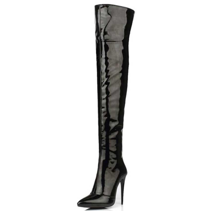 Wysokiej jakości Plus duży rozmiar 33-44 czarny czerwony biały Zip 12CM szpilki Sexy Over The Knee zakolanówki jesienne zimowe buty damskie X1529
