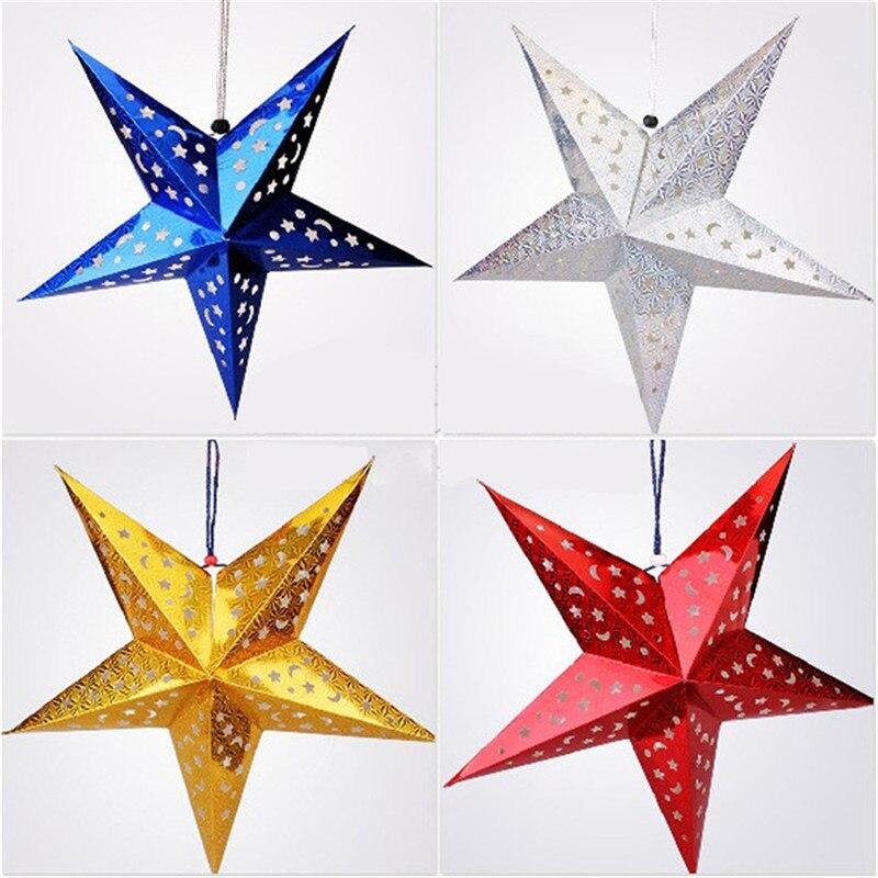 1 unid multicolor 3-dimensional láser de papel estrella de cinco puntas estrella