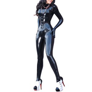 Fashion Women Black Latex Catsuits Casual Clothes Autumn Winter Sexy Slim Tight Leotard for adult Plus Size Hot Sale