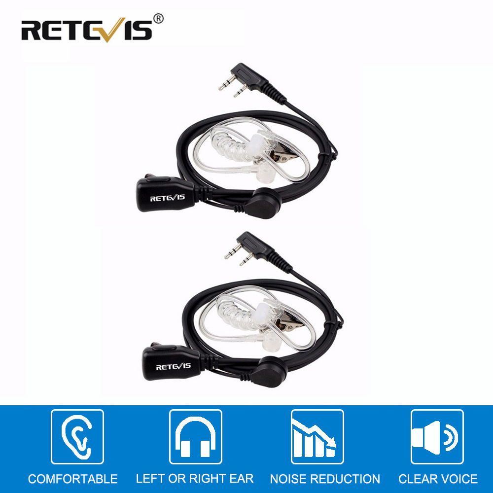 2pcs Acoustic Tube PTT Mic 2Pin Headphone Walkie Talkie Headset For Kenwood TYT Baofeng 888s UV-5R UV-82 RETEVIS RT22 H777 RT-5R