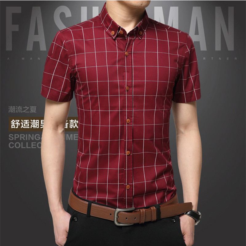 plaid mens shirts slim cotton 2017 hot sale mens dress