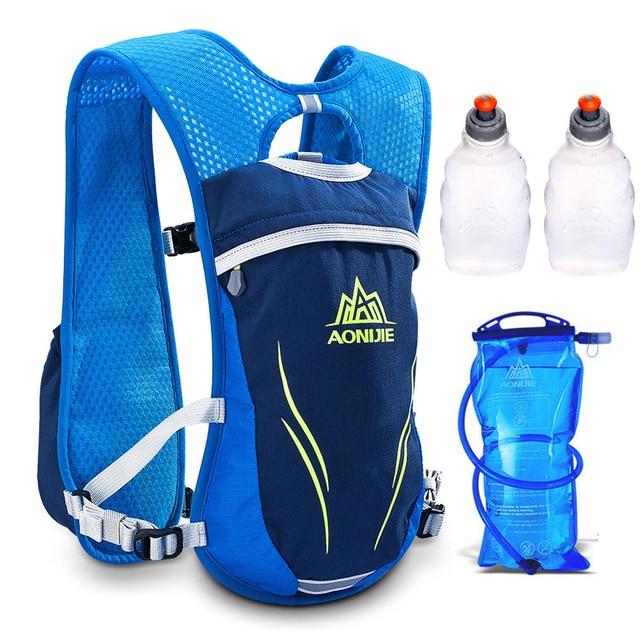 AONIJIE 5.5L Men Women Hydration Backpack Hiking Trail Running Racing Cycling Camping Marathon 1.5L Water Bag 2 250ML Bottles