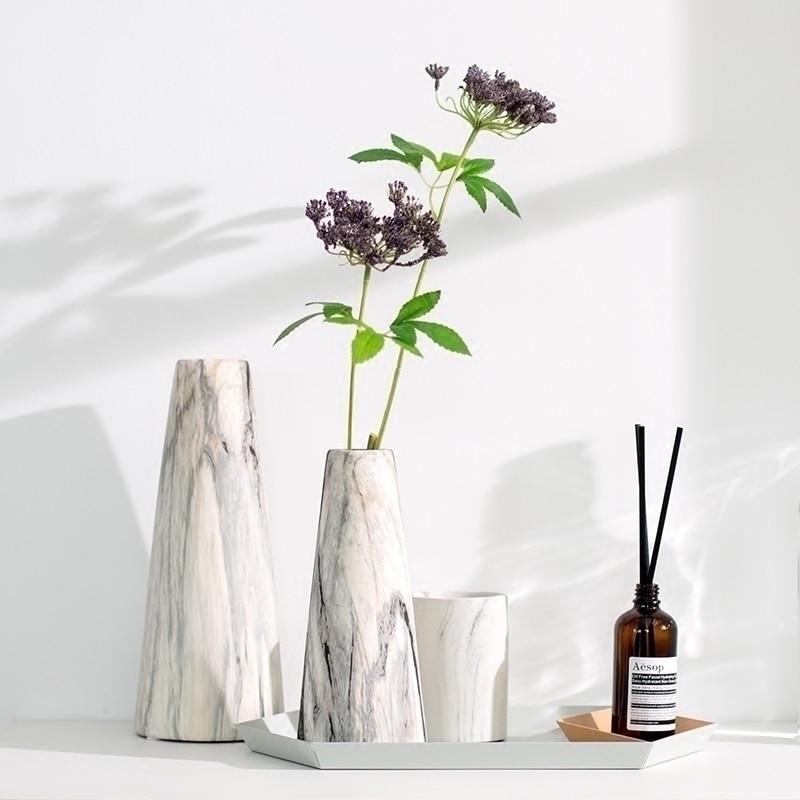 Marble Texture Ceramic Vase Ideas Home Deco Flower Vase In Bulk