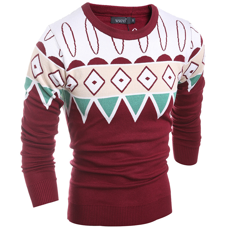 2016 Casual O collar Sweater Knitted Men Stripe Long Sleeve Pullovers Fashion Male Sweater Brand Winter