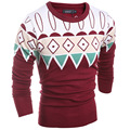 2016 Casual O-collar Sweater Knitted Men Stripe Long Sleeve Pullovers Fashion Male Sweater Brand Winter M~XXL Men Sweater Brand